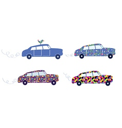 Funny cars with patterns set vector
