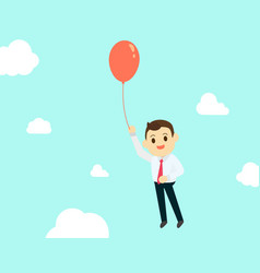 businessman with air red balloon up high and sky vector image