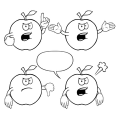 Black and white angry apple set vector image