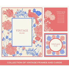 Retro frames invitation cards with birds flowers vector image