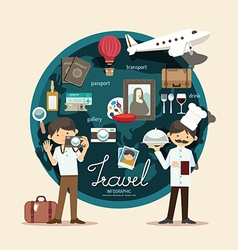 Boy travel plan on vacation design infographic vector image