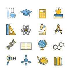 Set of education and learning line icons flat vector