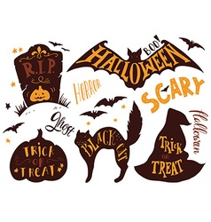 Collection of halloween symbols with hand vector