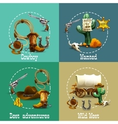 Wild west adventures icons set vector