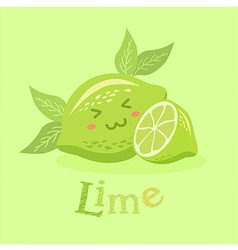 Cute lime fruit face vector