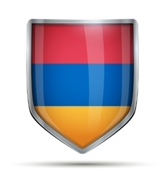 Shield with flag armenia vector