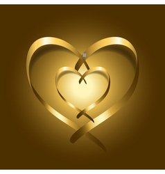 Two gold silk ribbon hearts vector