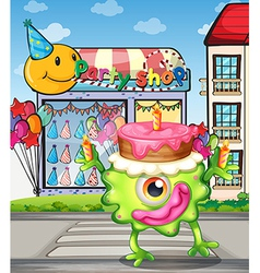 A monster with a cake above the head vector