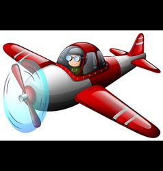 A red vintage plane with a pilot vector