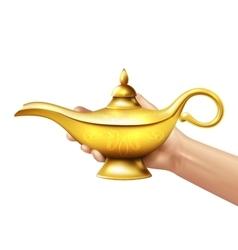 Aladdin lamp and hand vector
