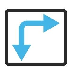 Bifurcation arrow right down framed icon vector