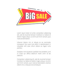 big sale arrow shape sticker on poster with text vector image