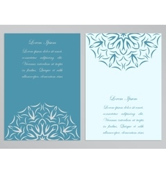 Blue and white flyers with ornate flower pattern vector image vector image