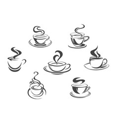 coffee cups or mugs steam icons set vector image
