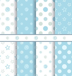Cute baby patterns set - seamless boy blue texture vector image