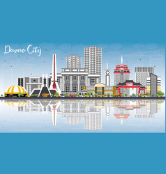 davao city philippines skyline with gray vector image