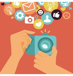 digital camera in flat retro style vector image vector image