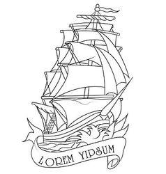 Drawing of ship vector