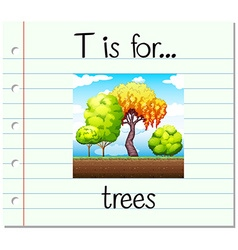 Flashcard letter t is for trees vector