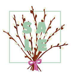 Floral pussy willow hand drawn colored card vector