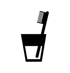 Glass with dental toothbrush vector