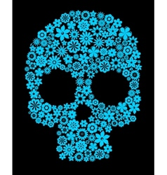 Human skull with flower elements vector image