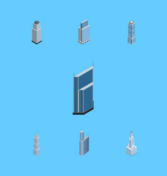 Isometric building set of building urban tower vector