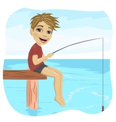 Little smiling boy fishing on lake vector image