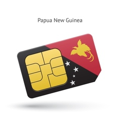Papua new guinea mobile phone sim card with flag vector