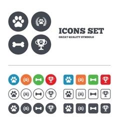 Pets icons Dog paw sign Winner laurel wreath vector image
