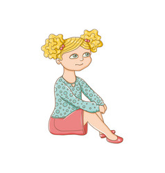 pretty little blond girl sitting on the floor vector image vector image