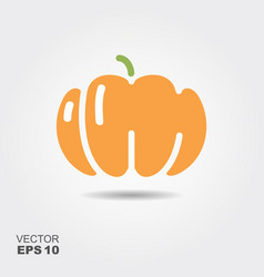 pumpkin flat icon with shadow vector image vector image