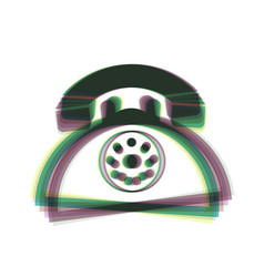 Retro telephone sign colorful icon shaked vector