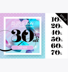 Sale template with flying silk on polka dot vector