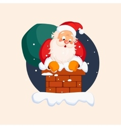Santa claus in chimney on christmas eve vector