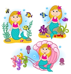 set of isolated mermaid under the water vector image vector image