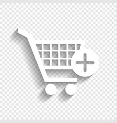Shopping cart with add mark sign white vector