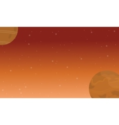 Silhouette of planet space landscape vector