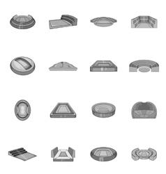 Sport stadium icons set black monochrome style vector image vector image
