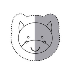 Sticker of grayscale contour with face of bull vector