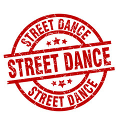 Street dance round red grunge stamp vector