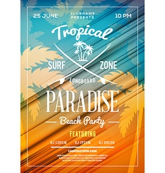 Summer beach party flyer or poster summer night vector