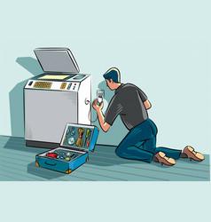 Technician in an office vector