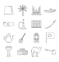 Turkey travel icons set outline style vector image vector image