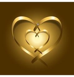 Two gold silk ribbon hearts vector