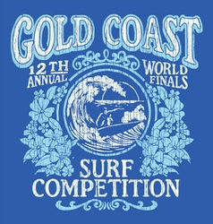 Vintage surfing tshirt graphic design vector