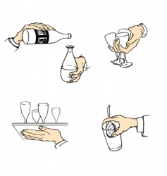 waiter hands vector image