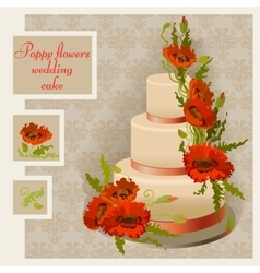 Wedding cake design with red and orange poppy vector