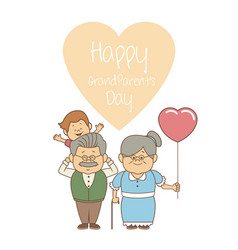 White background with elderly couple and boy happy vector