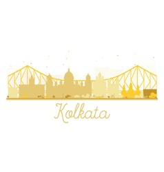 Kolkata city skyline golden silhouette vector